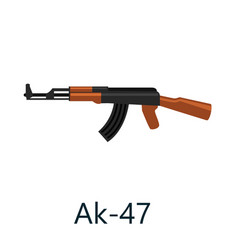 assault automatic black rifle ak47 military gun vector image