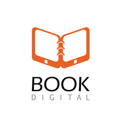 book digital logo vector image vector image