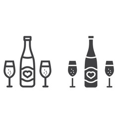 Bottle of champagne glasses line and glyph icon vector