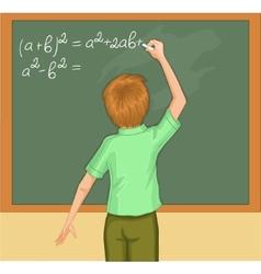 Boy writes on blackboard vector image