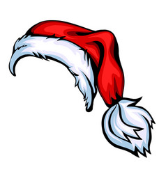 cartoon santa hat isolated on white vector image vector image