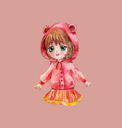 Chibi girl in red hoodie little anime child vector