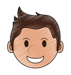 Color pencil cartoon face smiling man with vector