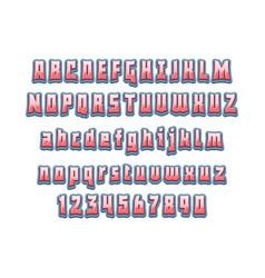 Comic lettering font 3d alphabethand vector