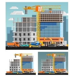 Construction And City Compositions Set vector image vector image