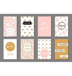 Creative girlie cards vector