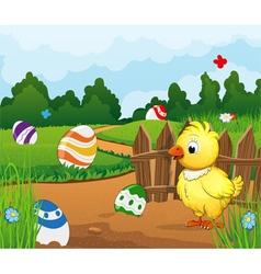 Easter scene background vector