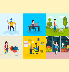 flat people set vector image vector image