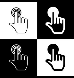 Hand click on button black and white vector