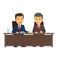 Happy businessman signs contract vector