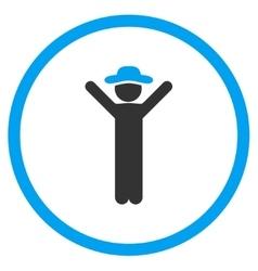 Happy gentleman circled icon vector