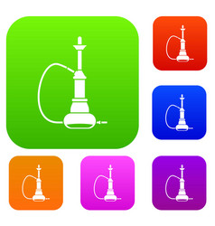 hookah set color collection vector image vector image