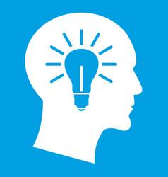 Light bulb inside head icon white vector