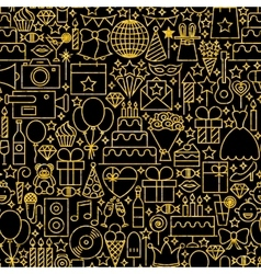 Line Gold Black Birthday Tile Pattern vector image vector image