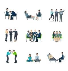 Mental health flat icons set vector
