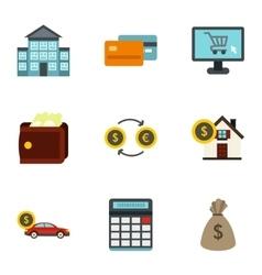 Money icons set flat style vector