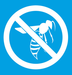 No wasp sign icon white vector