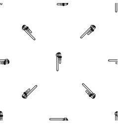 pipe or monkey wrench pattern seamless black vector image