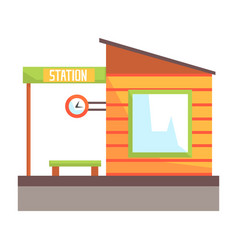Railway station building railroad passenger vector