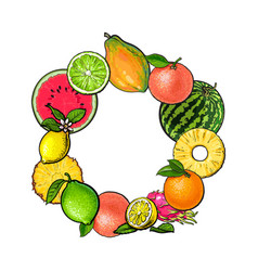 Round frame of tropical fruits with empty place vector
