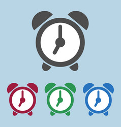 Set of color alarm clock icons sign symbol vector