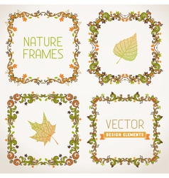 Set of nature calligraphic frames vector