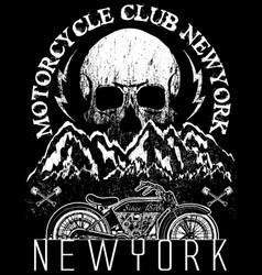 Skull motorcycle tee graphic design vector