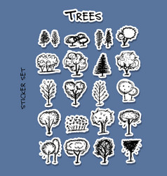 trees sticker set for your design vector image vector image
