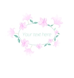 Watercolor floral oval frame pastel color vector
