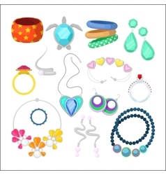 Woman Fashion Accessories Set with Rings vector image