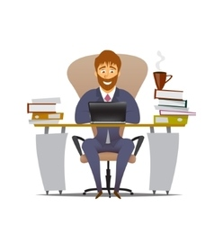 Worker works at an office and smiling vector