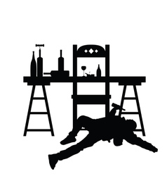 Man drunk silhouette in black color vector