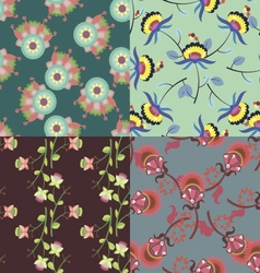 Set of cute multicolored seamless patterns vector