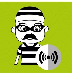 Hacker security alarm vector