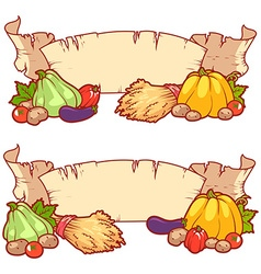 Two empty vintage scrolls rich harvest of vector