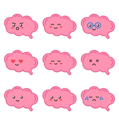 Cartoon cute brain character with facial emotions vector image