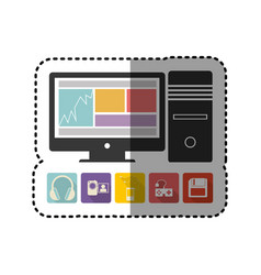 Sticker colorful desktop computer with icon apps vector