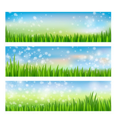 green nature landscape set with grass and blue sky vector image