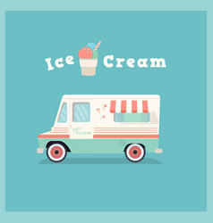 Colorful retro ice cream van vector
