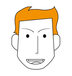 Sketch color silhouette front face man with vector