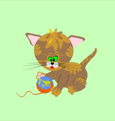 A cat with a globe vector