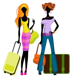 girls with suitcases vector image