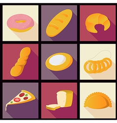 Collection of bread flat icons vector