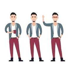Young man character in a suit flat set in vector
