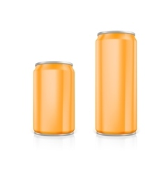 Set of orange blank aluminium cans vector