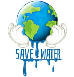 Save water sign with earth melting vector