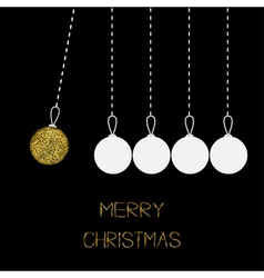Hanging christmas balls dash line white and gold vector