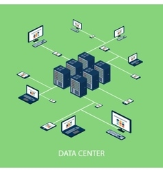 Data isometric set with data center and network vector