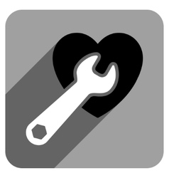 Heart surgery flat square icon with long shadow vector