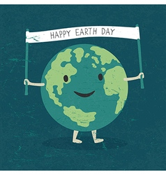 Cartoon earth planet smile and hold banner with h vector